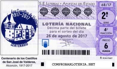 Lotería nacional del sábado 26 de agosto de 2017