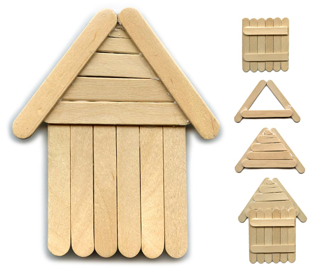 Another popsicle stick house art projects for kids for How to draw a log cabin step by step