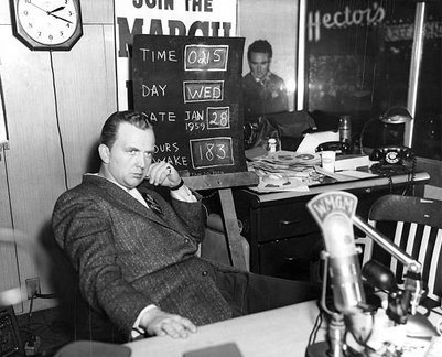 Picture of Peter Tripp in his Times Square, NY radio station