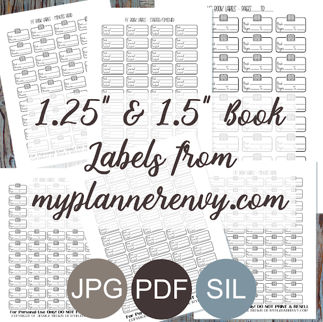 "Free Printable 1.25"" & 1.5"" Book Tracker Labels from myplannerenvy.com"