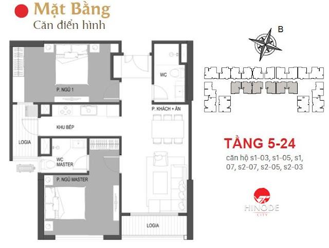 Thiết kế căn 03 - 05 - 07 tòa Sachi