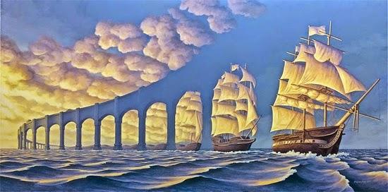 Ilusão de ótica - Navios no Horizonte