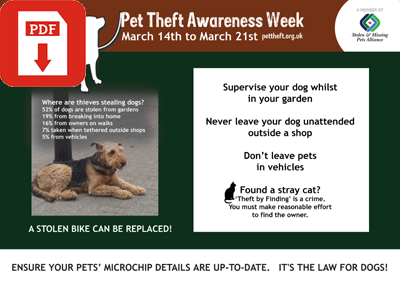 PDF Pet Theft advice poster to download and display
