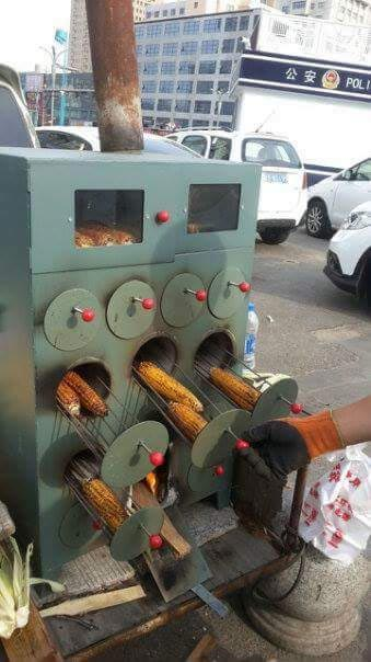 Wow. Check out this high-tech corn roaster sighted today