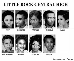 Image result for LITTLE ROCK NINE BEGIN CLASSES IN 1957