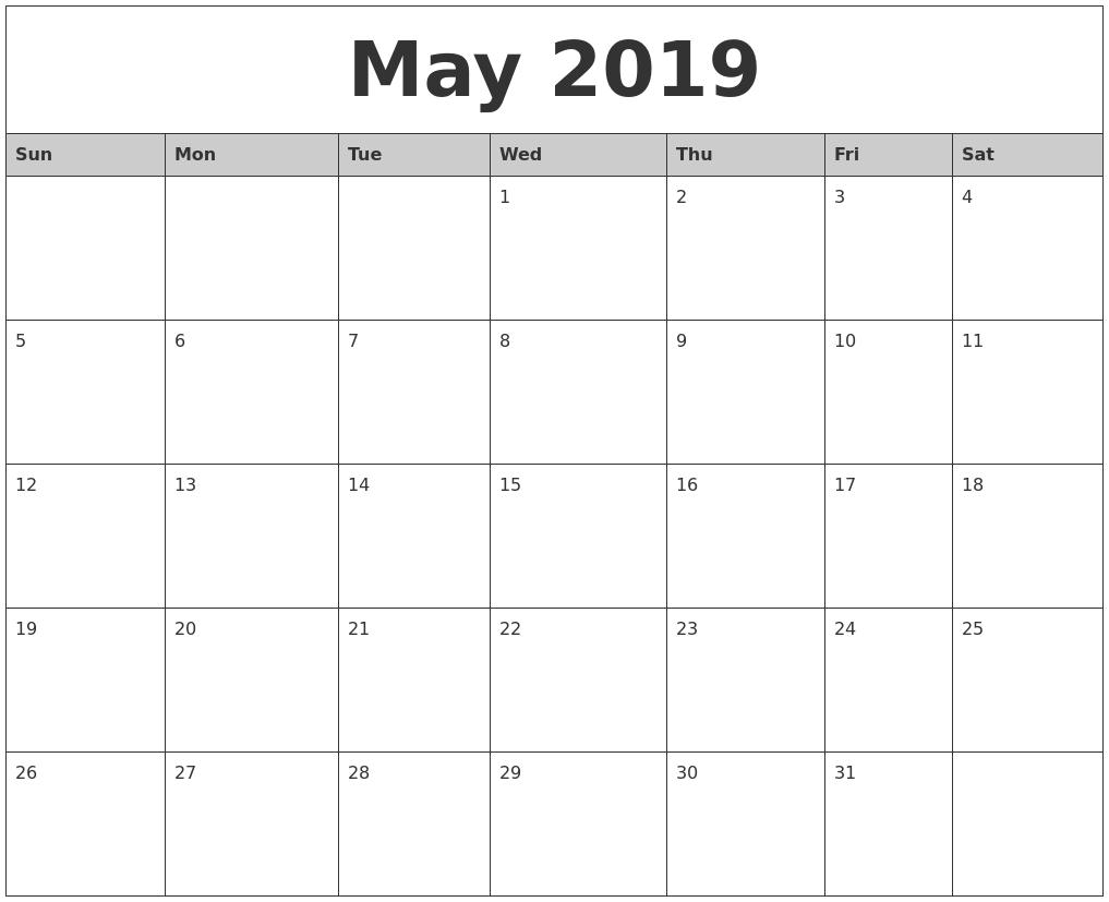 Word 2019 Calendar Template Free Printable Calendar 2018: 2019 Editable Word, Excel Calendar