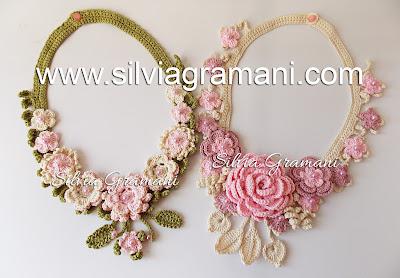 Colares de Crochê com Flores - Compridos