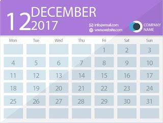 december 2017 timetable calendar
