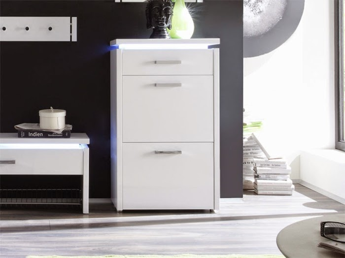 modern hall furniture white shoe cabinet with LED lighting & 2016 stylish gloss white shoe storage cabinet ideas for modern ...