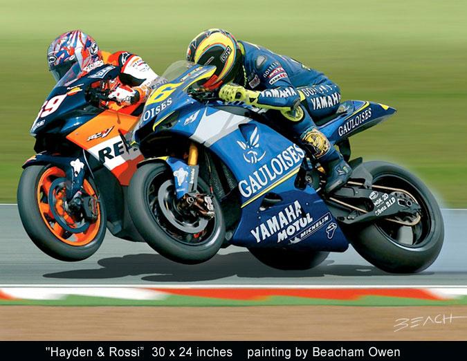 Nicky Hayden and Valentino Rossi MotoGP art painting by Beacham Owen aka Beach Owen