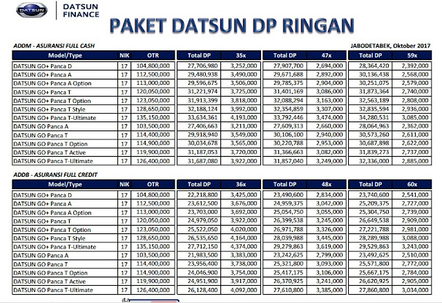 Price List Datsun 2017