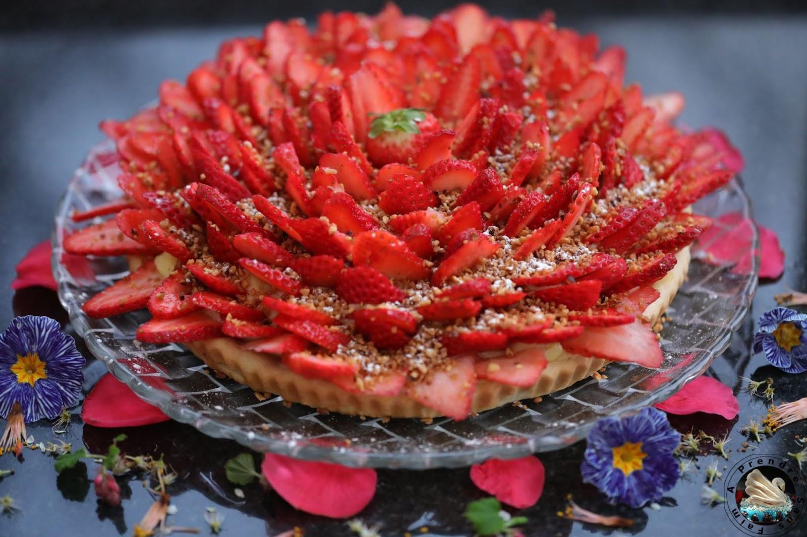 Tarte aux fraises praliné fleur d'oranger