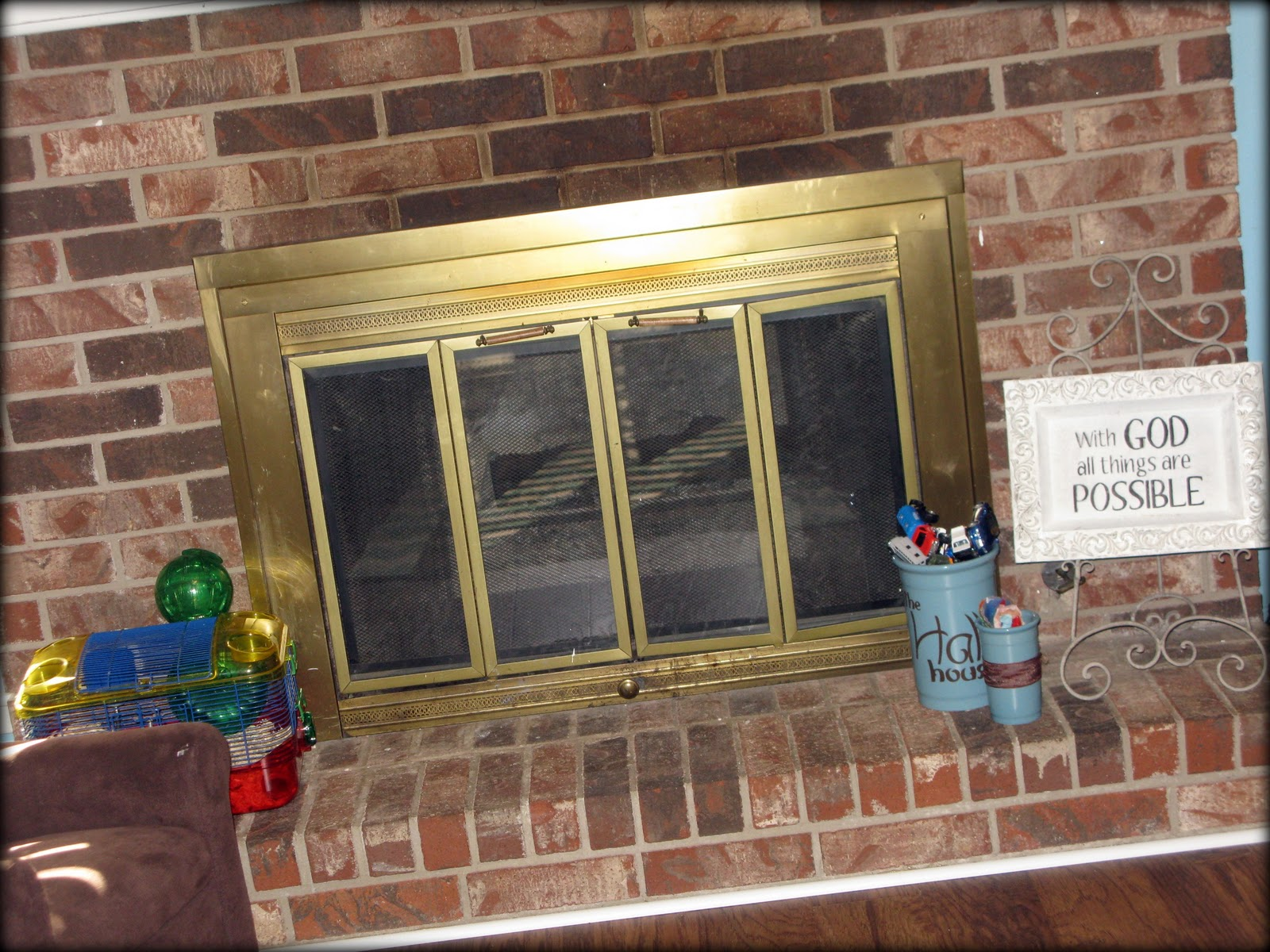 Update Old Brick Fireplace Tattered And Inked Updating Your Fireplace Without Touching Your