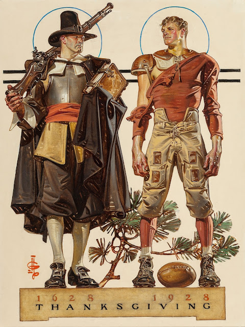 Joseph Christian Leyendecker - Thanksgiving, 1628-1928 300 Years (Pilgrim and Football Player), The Saturday Evening Post cover, November 24, 1928