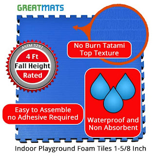 Greatmats indoor playground tiles 4 foot fall height rated