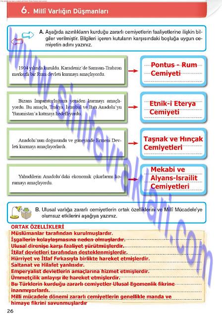 8. Sınıf İnkılap Tarihi Çalışma Kitabı Cevapları Top Yayınları Sayfa 27