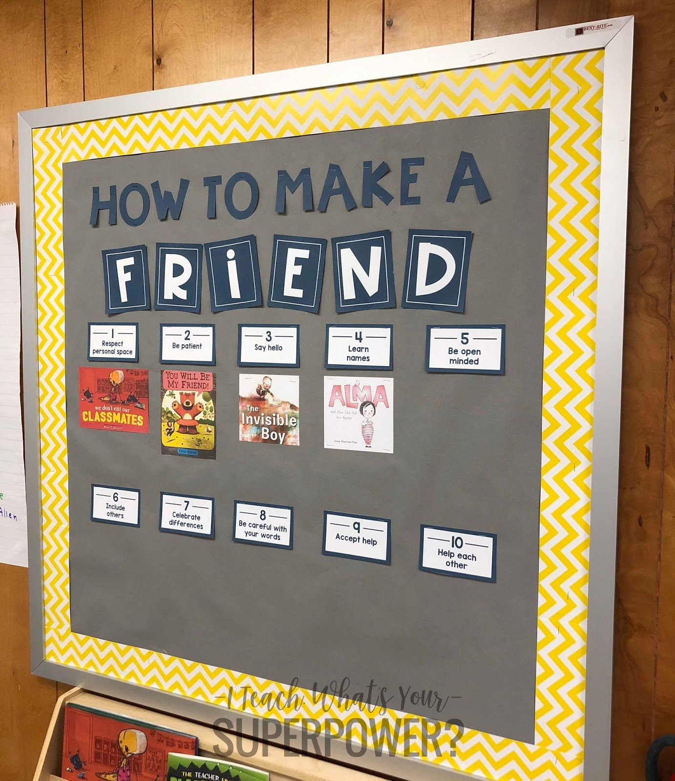 This mentor text set on friendship is the perfect way to start back to school. Free bulletin board template to connect picture books with traits of a good friend.