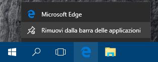 Rimuovere programma da barra applicazioni Windows 10