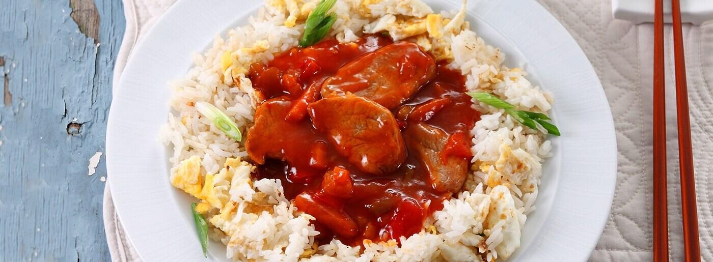Χοιρινό με ρύζι basmati και γλυκόξινη σάλτσα