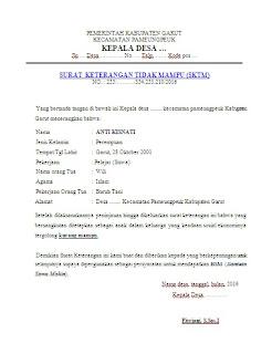 Contoh Surat Keterangan Tidak Mampu (SKTM) untuk siswa sebagai rekomendasi dari desa ke sekolah - update 2016