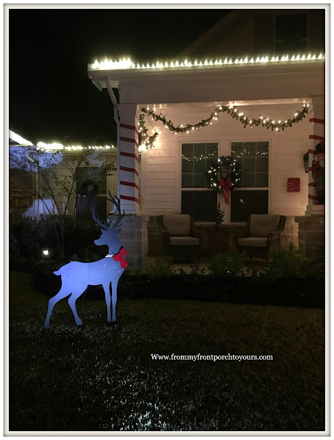 Christmas Front Porch Decorations-Farmhouse Porch-Deer Yard Decor-From My Front Porch To Yours