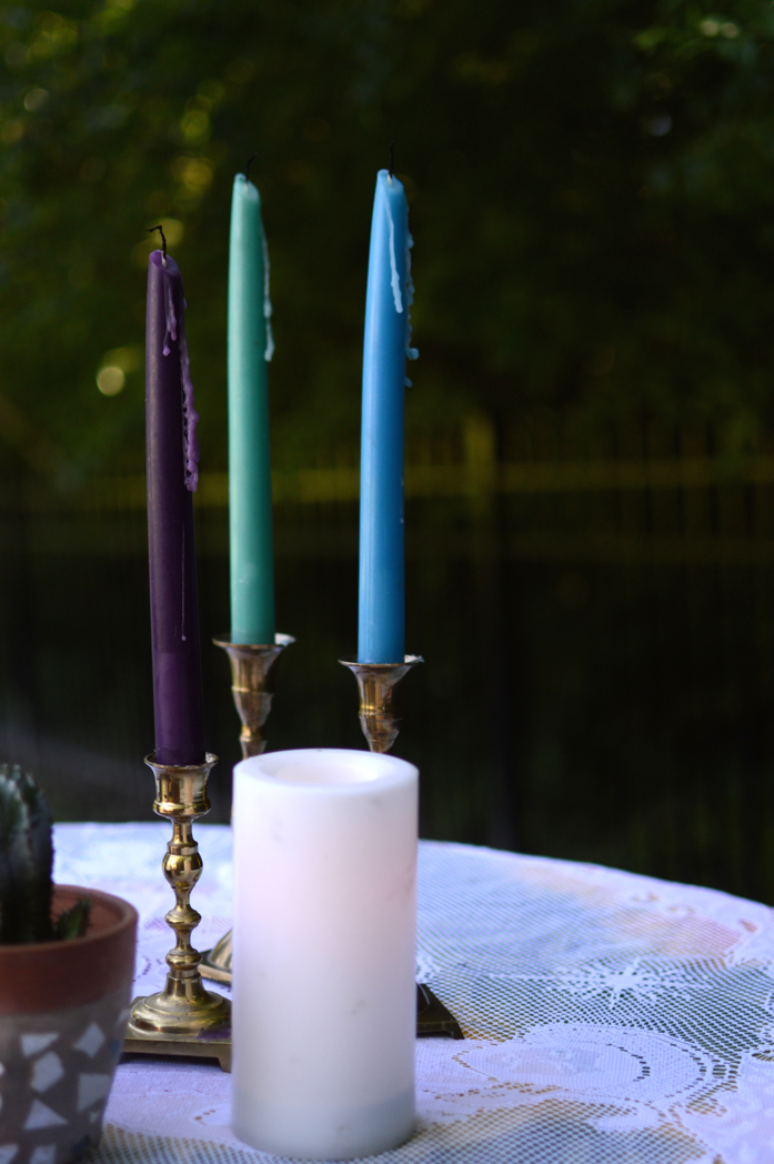 Vintage Candlesticks with Colorful Tapered Candles