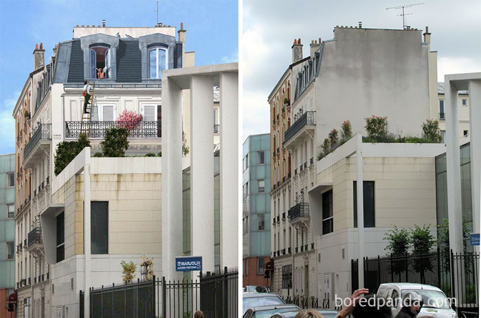 10+ Incredible Before & After Street Art Transformations That'll Make You Say Wow - Roméo Et Juliette, Levallois, France