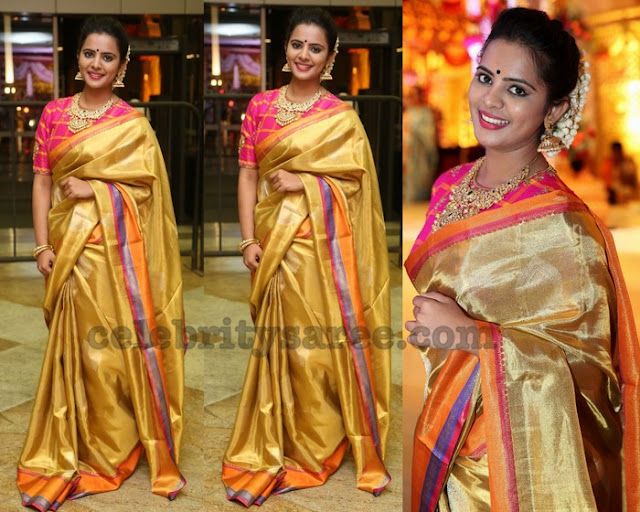 Manasa Gold Traditional Saree