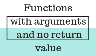 Functions with arguments and no return value