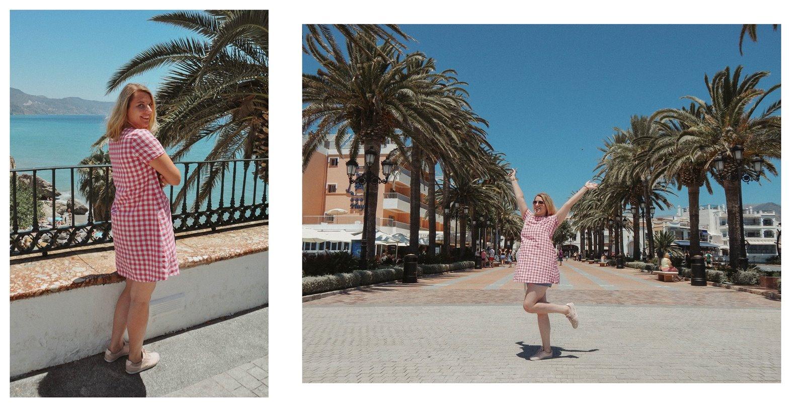 6b sukienka dziewczęca krata ubrania dla mam i córek krata różowa sukienka trapez 100% handmade polskie marki wspieram polskie nosze blog modowy melodylaniella fashion beauty style łódź nerja hiszpania co zobaczyć
