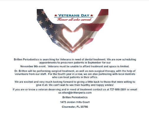 Clearwater Periodontist to Hold 4th Annual Veteran's Day Event CLEARWATER, FLA. Dr. Todd M. Britten...