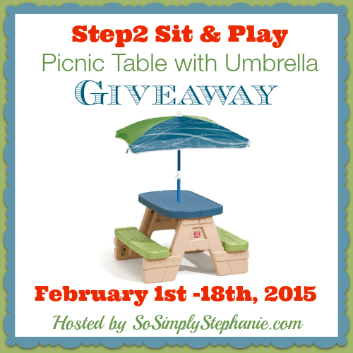 Enter the ​Step2 Picnic Table with Umbrella Giveaway. Ends 2/18