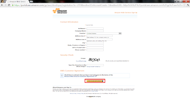 AWS Create Account - Contact information