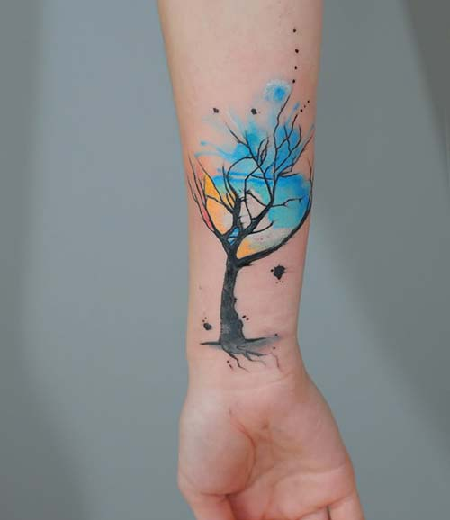 renkli ağaç erkek bilek dövmeleri watercolor tree wrist tattoos for men