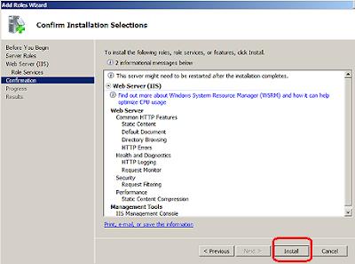 Install IIS Web Server on Windows Server 2008