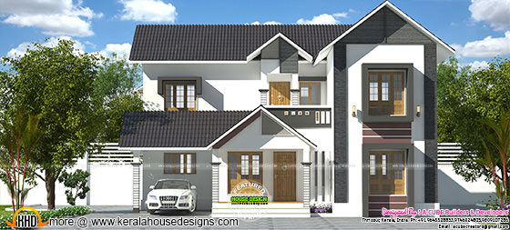 2232 sq-ft 3 bedroom Kerala sloping roof house