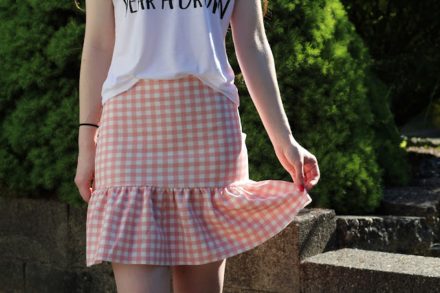 pink and white gingham ruffle skirt