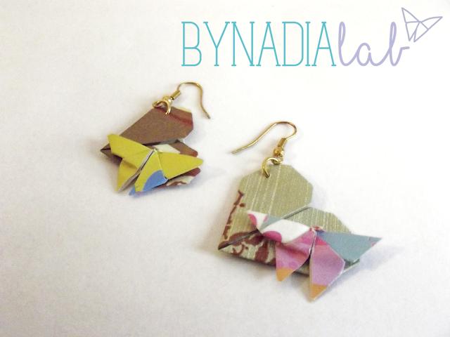 orecchini cuore con farfalla - origami bynadialab