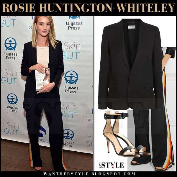 Rosie Huntington-Whiteley in black saint laurent blazer and black side panel chloe pants what she wore