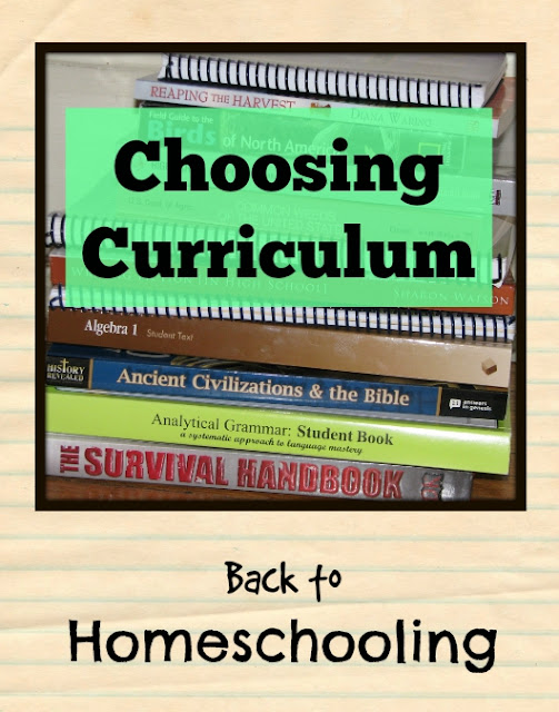 Back to Homeschool Blog Hop, Choosing Curriculum