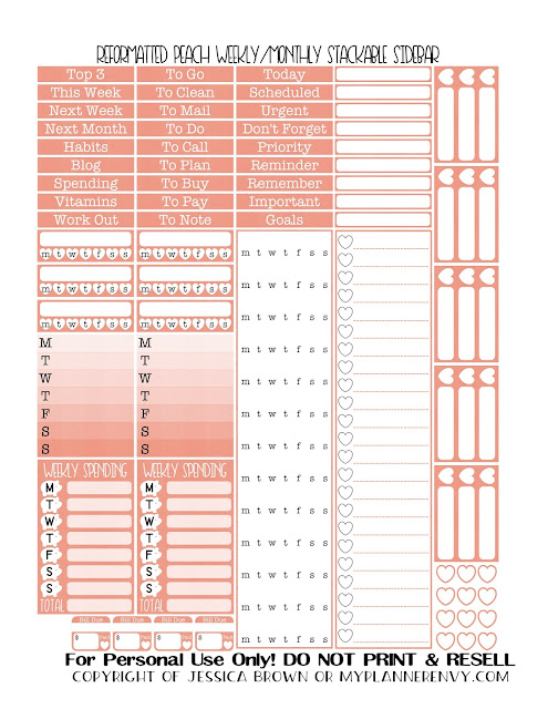 Free Printable Reformatted Weekly/Monthly Stackable Sidebar in Peach from myplannerenvy.com