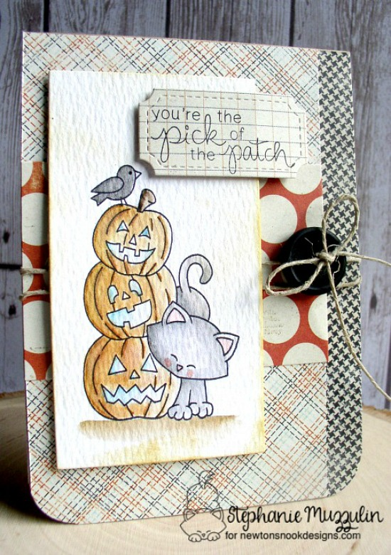 Halloween pick of the patch cat card by Stephanie Muzzulin | Newton's Boo-tiful Night Stamp set by Newton's Nook Designs #newtonsnook #halloween