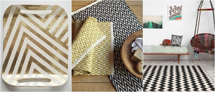 black white and gold zig zag decor