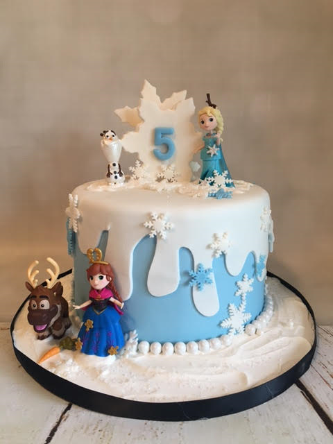 Frozen Theme Birthday Cake For A Little Girls Turning 5 Years Old
