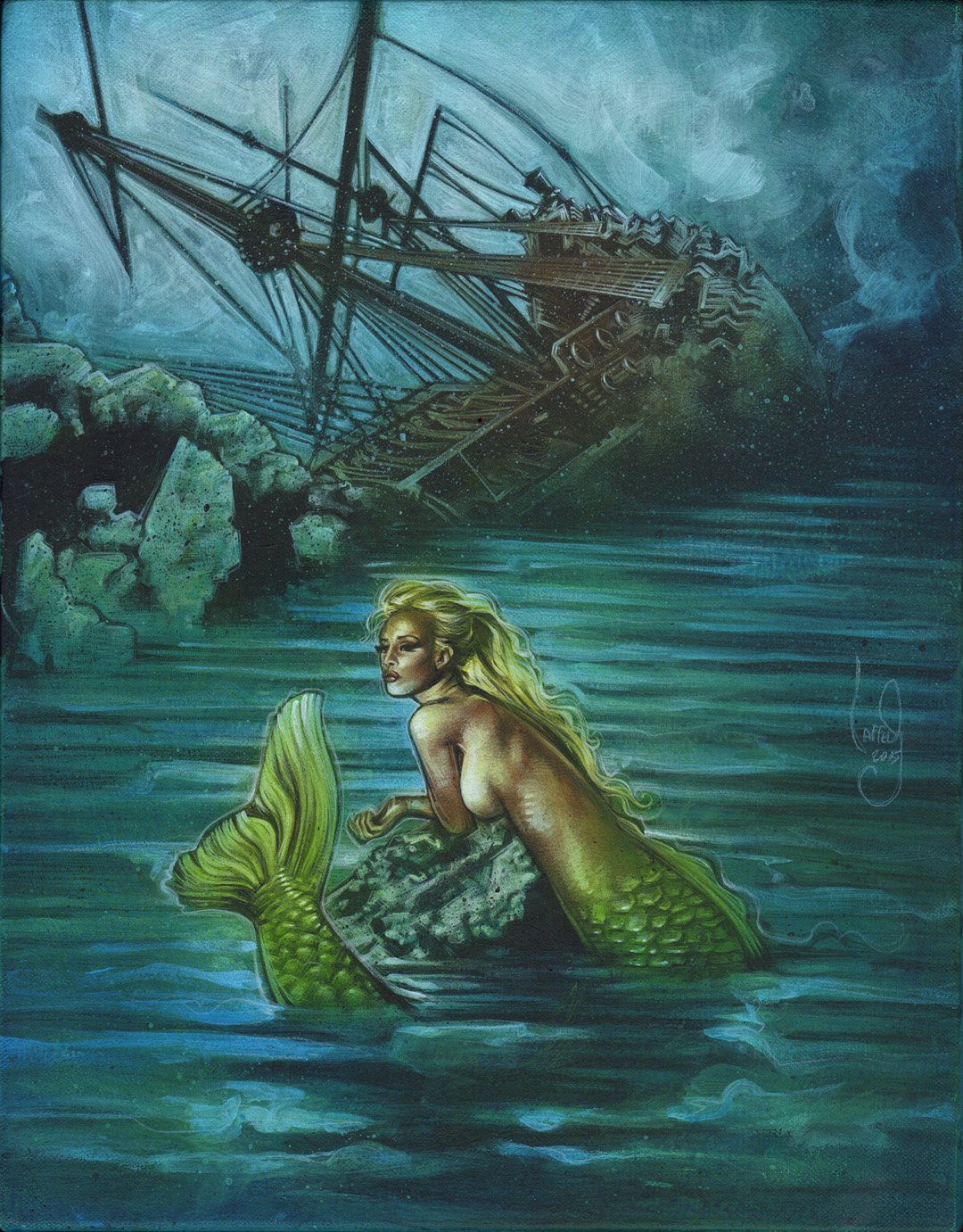 Mermaid and Shipwreck, Artwork is Copyright © 2015 Jeff Lafferty