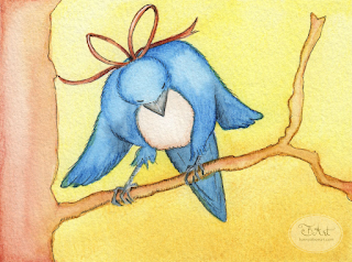 Blue Bird Illustration With Derwent Inktense Pencils by Tawnya Boe