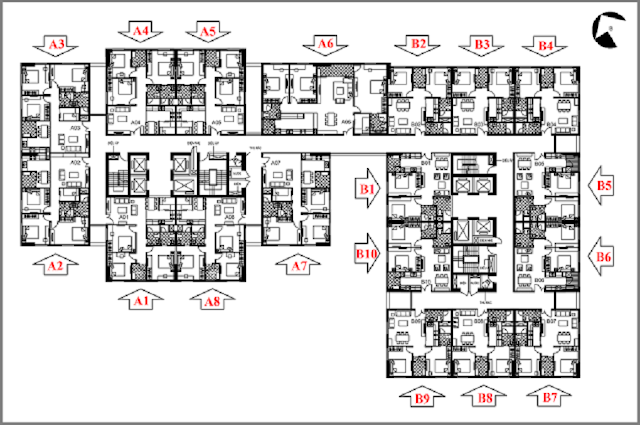 Thiết kế điển hình mặt sàn tầng nhà ở