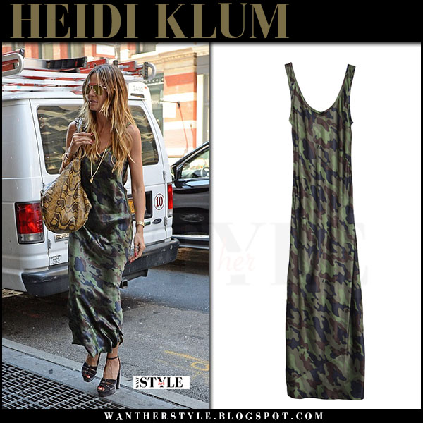 Heidi Klum in green camo print maxi dress nili lotan what she wore june 27 2017