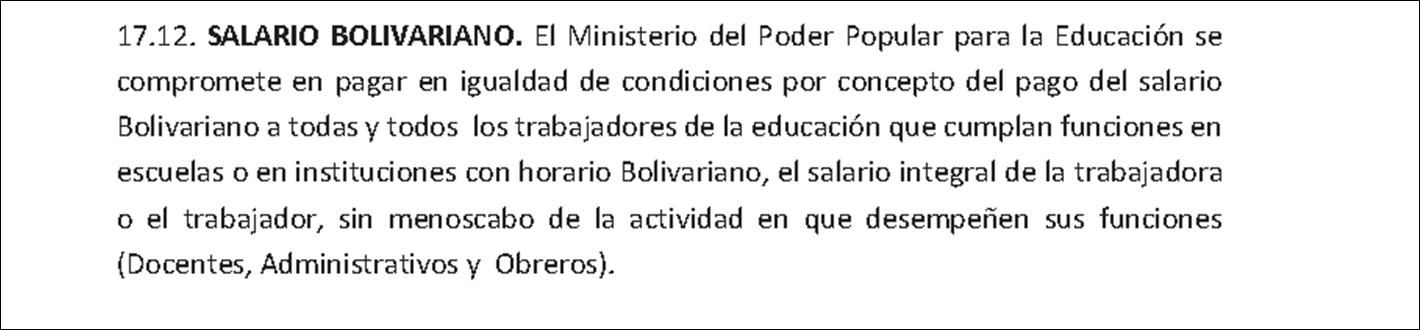 SALARIO BOLIVARIANO Docentes, Administrativos y Obreros