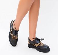 Pantofi casual negri de dama cu imprimeu leopard